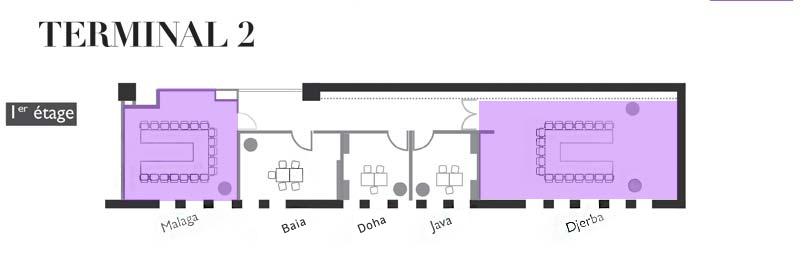 Plan location de salles et de bureaux Terminal 2