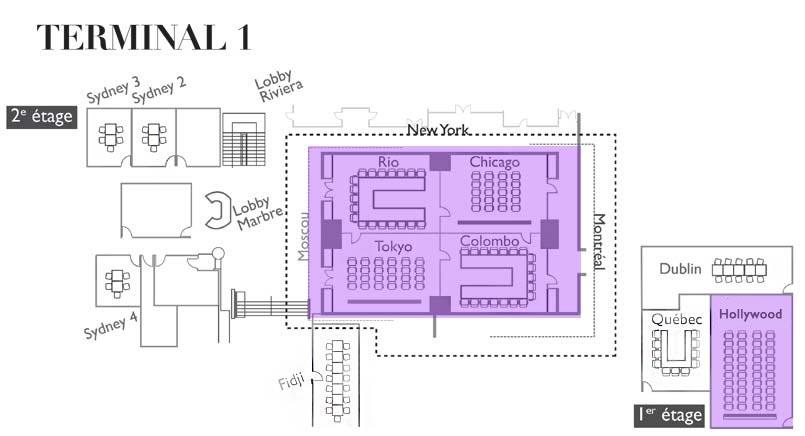 Plan location de salles et de bureaux terminal 1